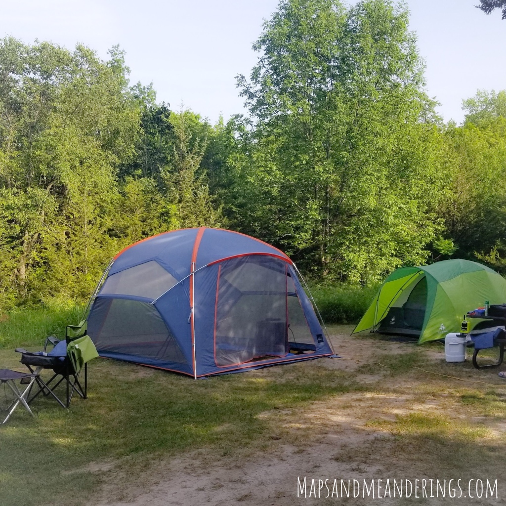 Two tents on a campsite